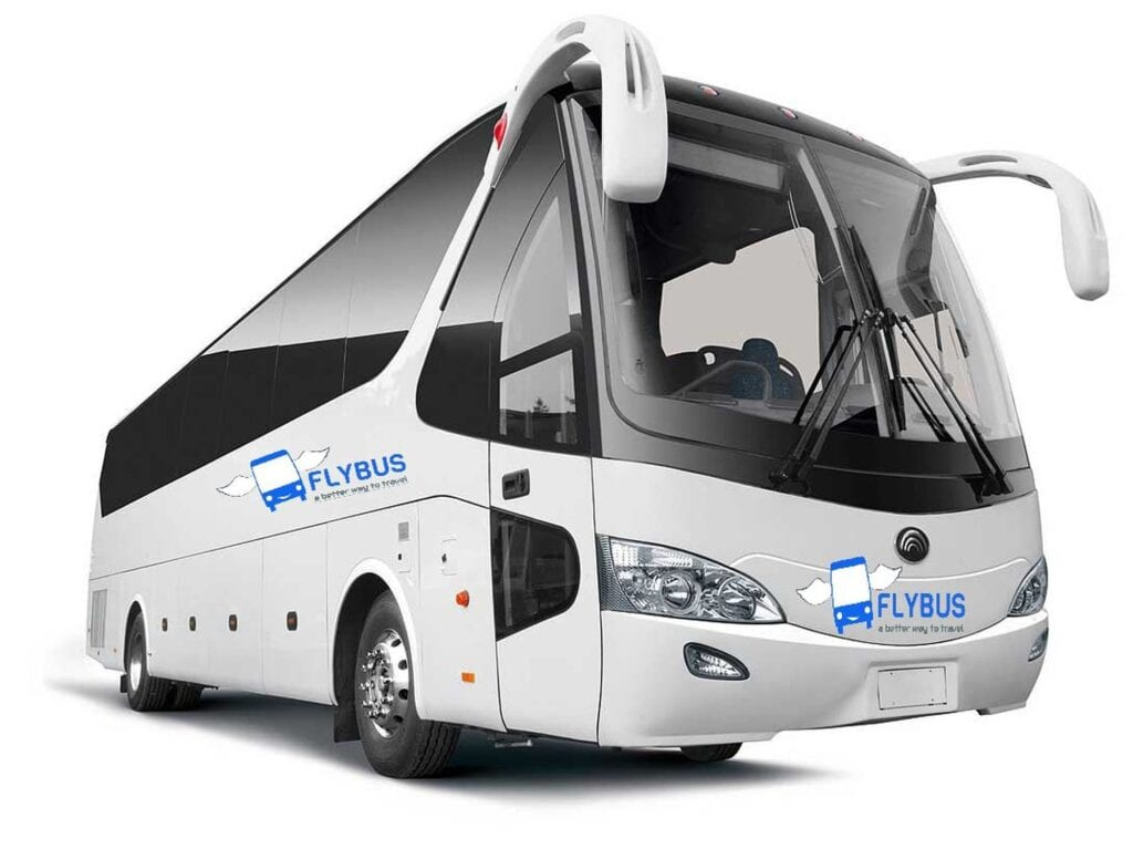 flybus bus hire fleet 55 seater coach white color marked with the flybus bus company logo