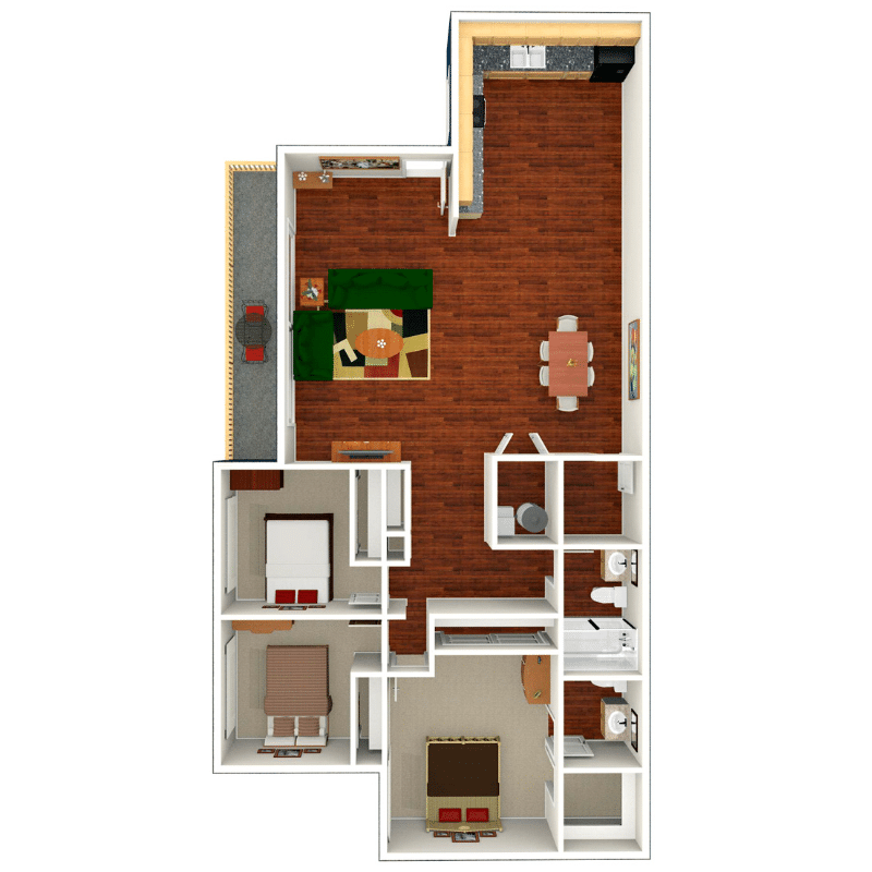 3 bed 1.5 bath apartment floor plan