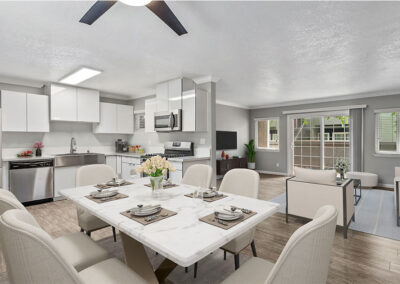 Solara Apartments Furnished Kitchen with View of Living Room