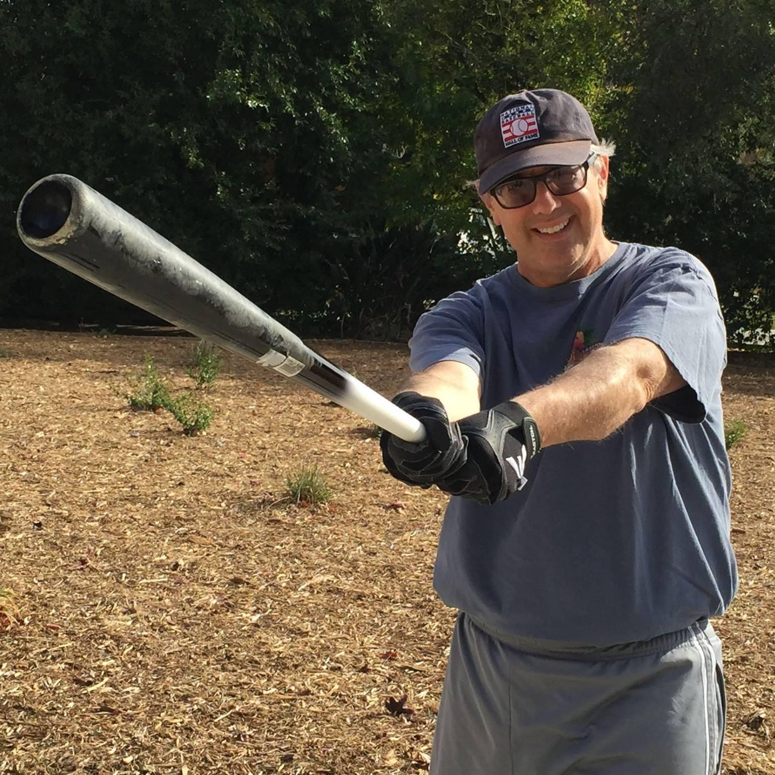 Jon Leonoudakis holding two-tone bat, 2016