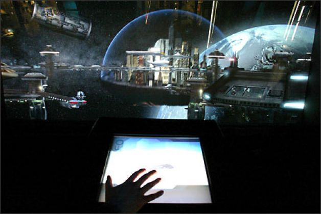"""The """"Spacedock"""" interactive at the Science Fiction Museum and Hall of Fame in Seattle."""