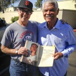 "Baseball great Felipe Alou and Jon complete an interview in Phoenix for Jon's documentary, ""Hano!""."