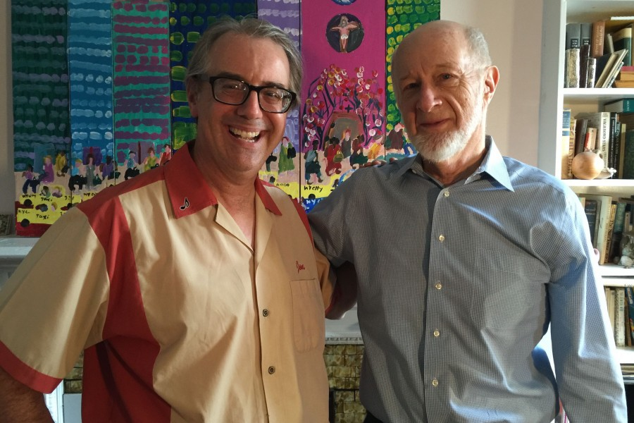 "Jon with New York Times columnist George Vecsey during the Manhattan interviews for Jon's documentary, ""Hano!""."