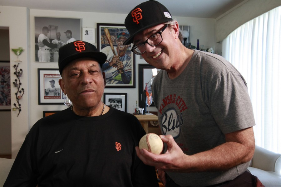 Jon talks baseball with Hall of Famer Orlando Cepeda on the interview set.