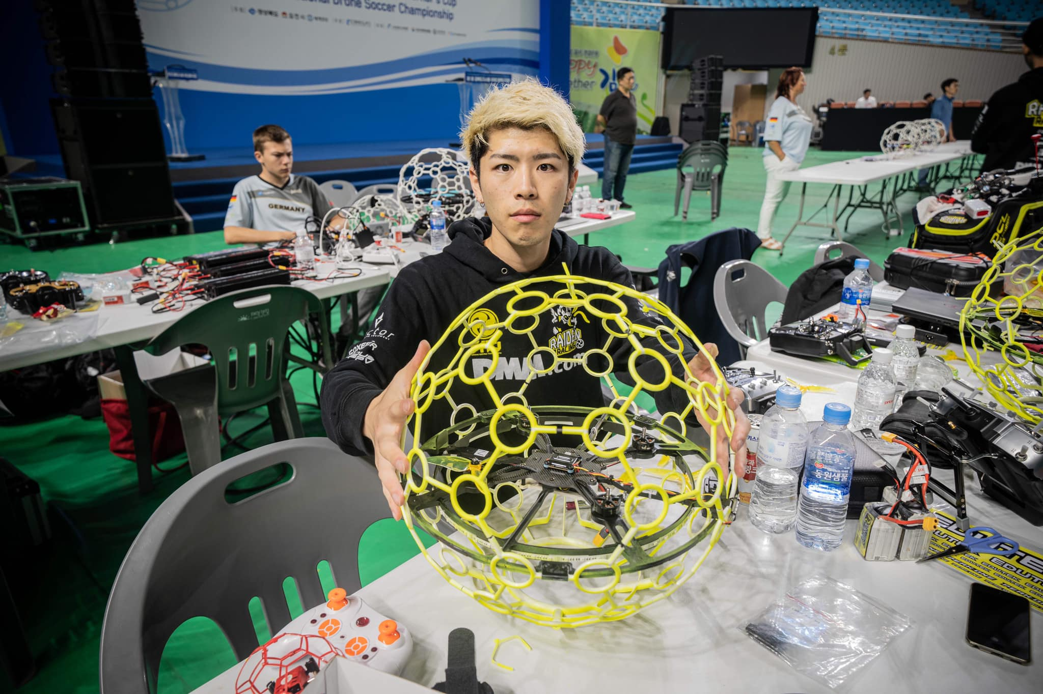 Close up of a drone soccer ball from Korea