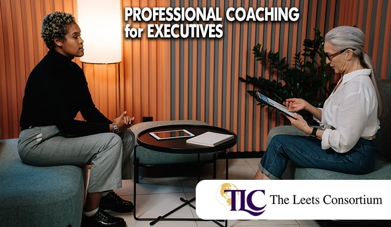 a coach and an executive receiving professional coaching services