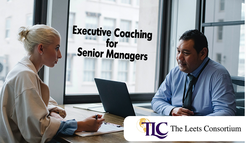 an executive coach in a session with a senior manager at office