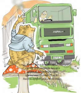 Toad waves to the lorry driver