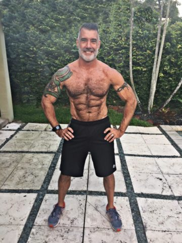 Client Roger Hicks six pack abs smiling frontal after picture