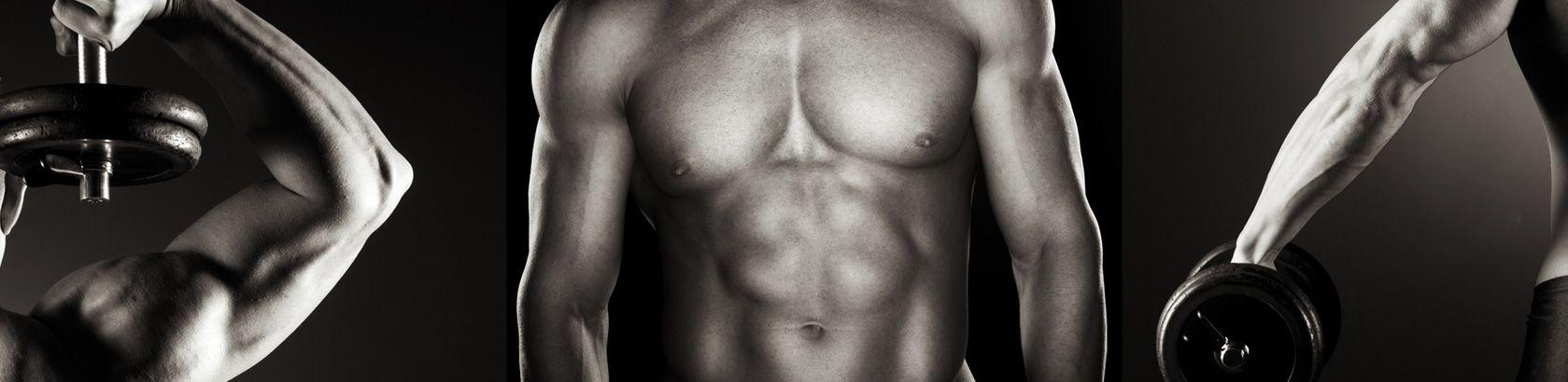 fitness body shots men holding dumbbells
