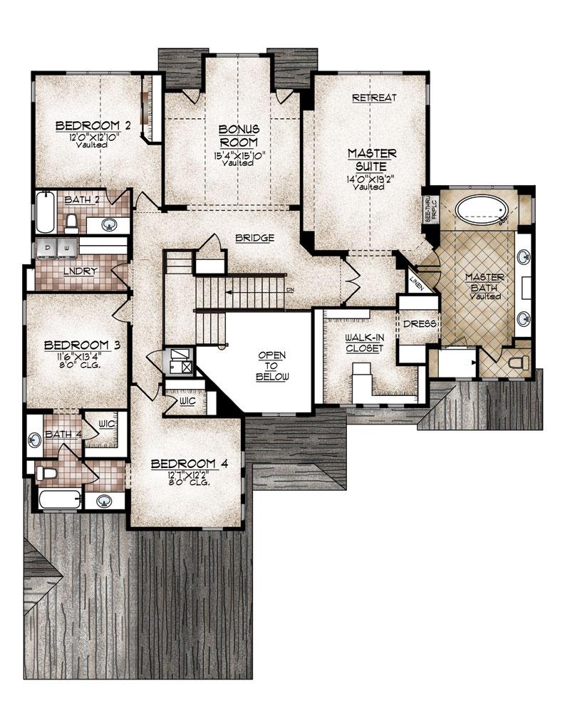 carbondale model upper level floor plan by sopris homes
