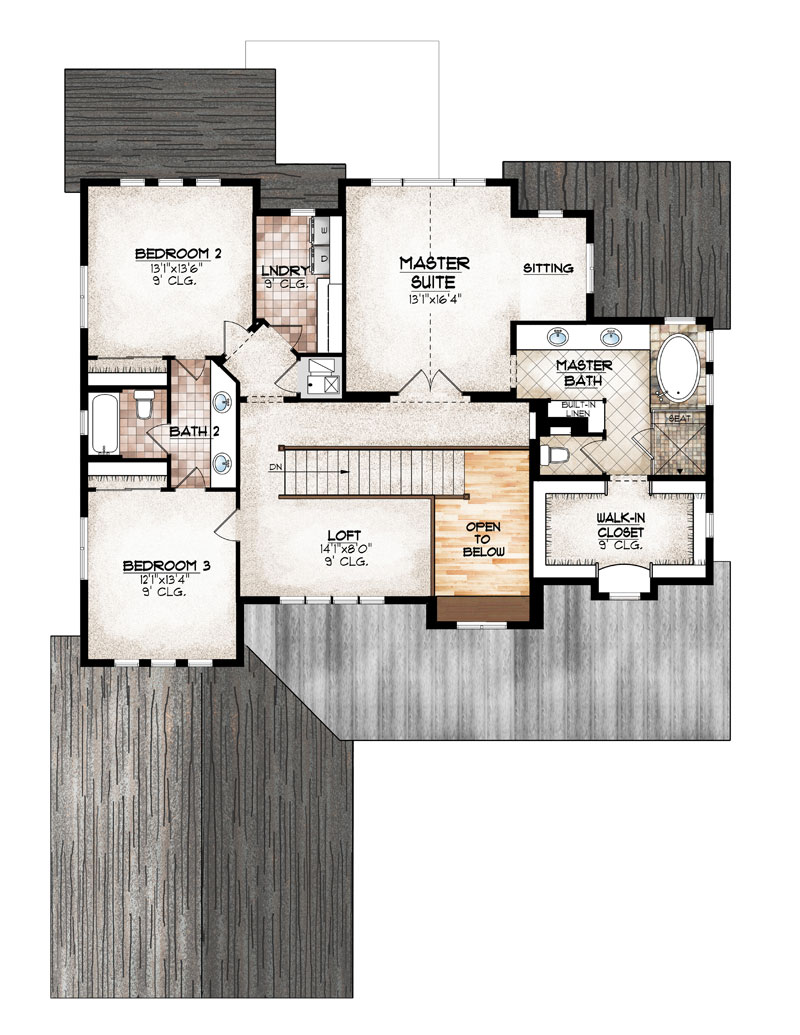 eldorado model upper level floor plan by sopris homes