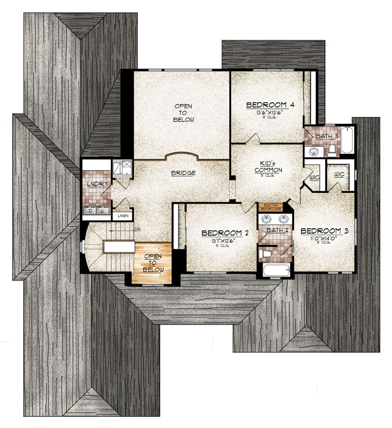 paonia model upper level floor plan by sopris homes