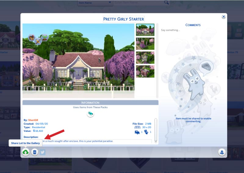 Sims 4-save lot to gallery