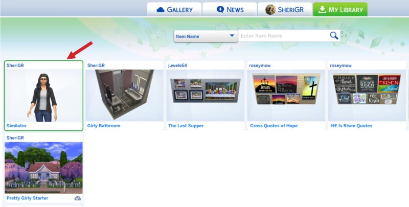 Sims 4-save household to gallery