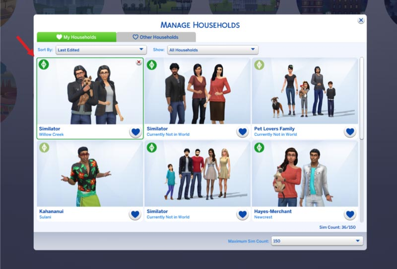 Split & Merge Household in Sims 4