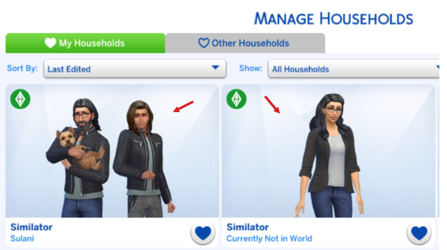 "Two new households in ""My Households"""