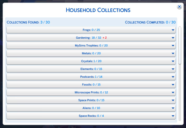 """""""Household Collections"""" toggle panel"""