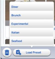 load preset menu