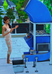 Sim will recycle the dirty dish &/or the trash from inventory