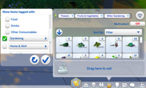 """""""Filter Items""""(Example: """"Gardening"""" selected"""