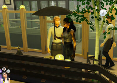 Okay... How exactly does someone get electrocuted in the middle of a restaurant. Then, just 'cause it's not weird enough, she puts up her umbrella – afterward.