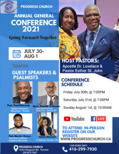 Annual General Conference: Going Forward Together @ Progress Church of God / YouTube & Facebook Live