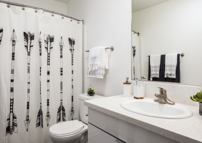 Bathroom with black and white shower curtain and mirror and sink