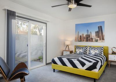 bedroom area in uptown fullerton apartment