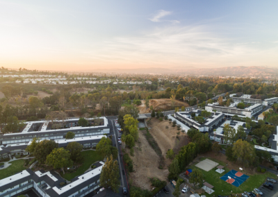 High view of Uptown Fullerton Apartment Homes at sunrise