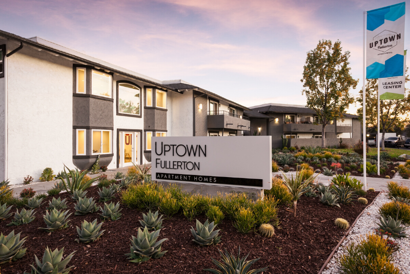 Uptown Fullerton sign with landscaping