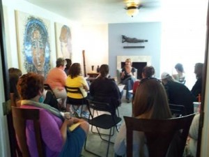 teaching womens workshop fireplace room