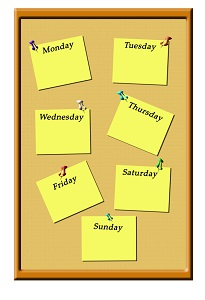 bulletin board with daily reminders