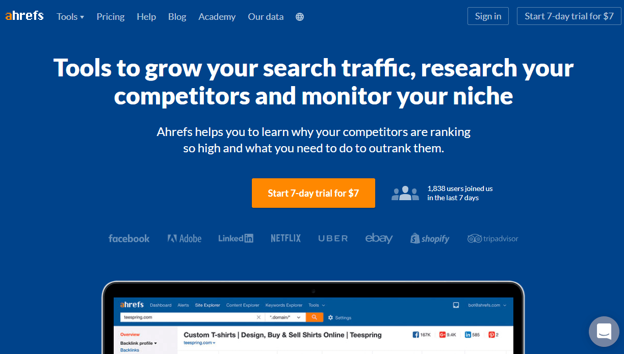 ahrefs is one of the best tools for finding keywords to use in your blog content