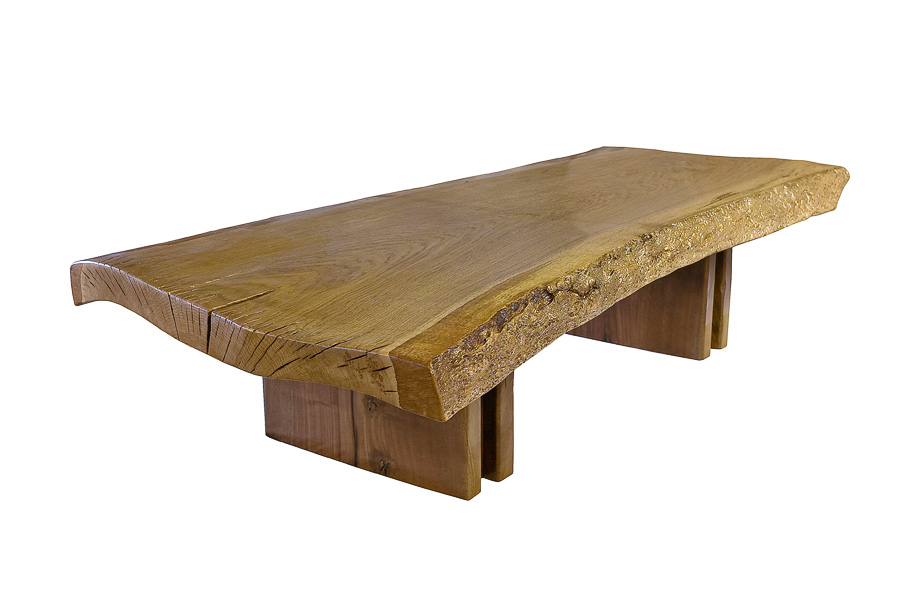 Oak Live Edge Coffee Table with Walnut Base