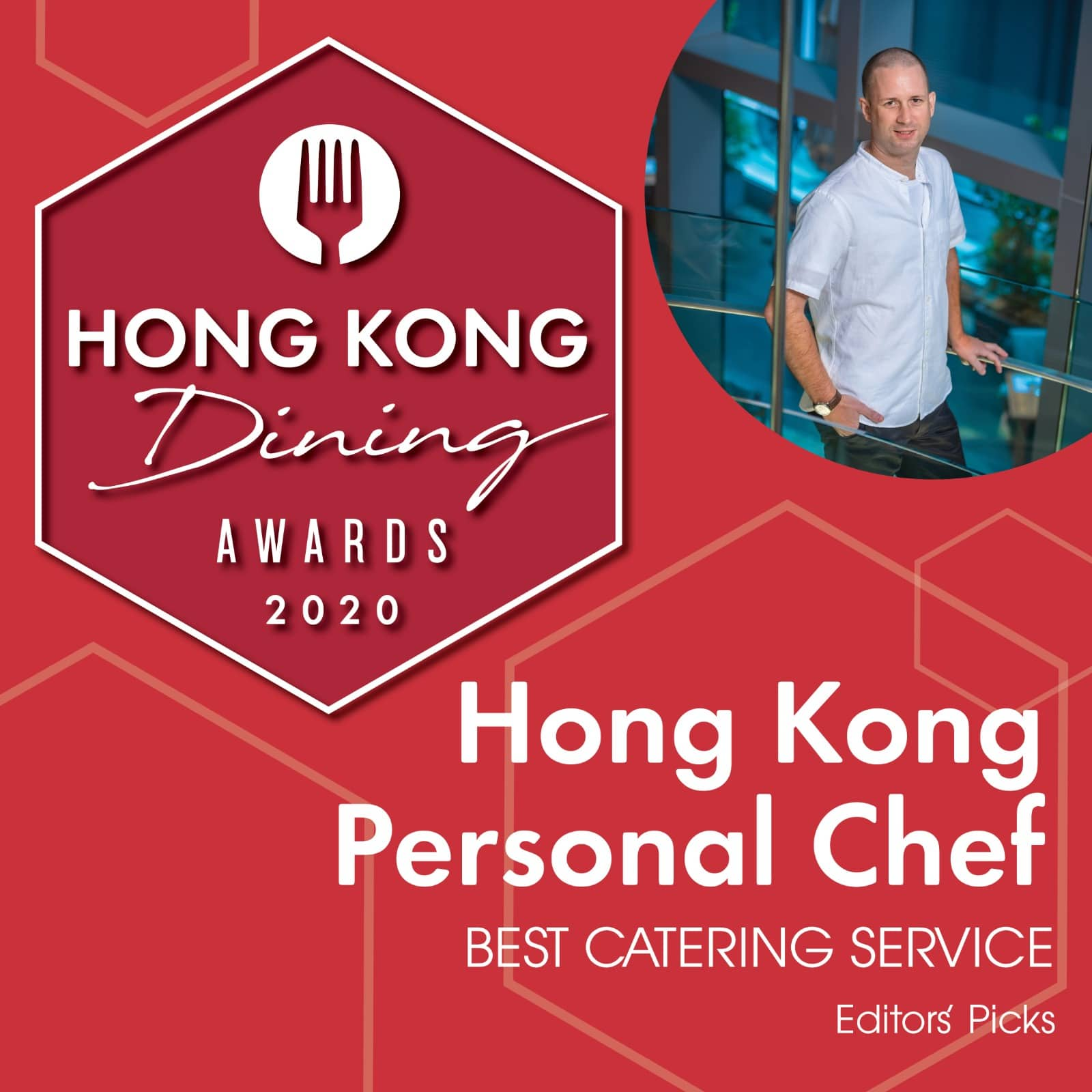 best private chef catering company award hong kong personal chef on red background from hong kong living dining awards