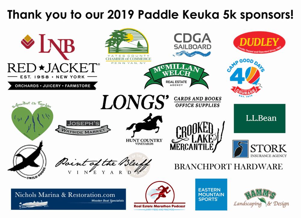 Paddle Keuka 5K sponsors