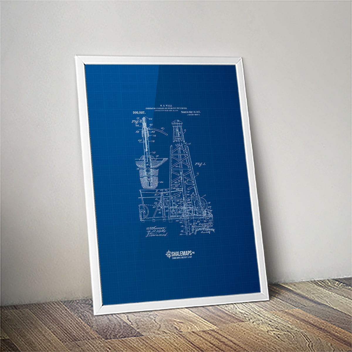 Vintage Drilling Rig Blue Print Patent from 1911