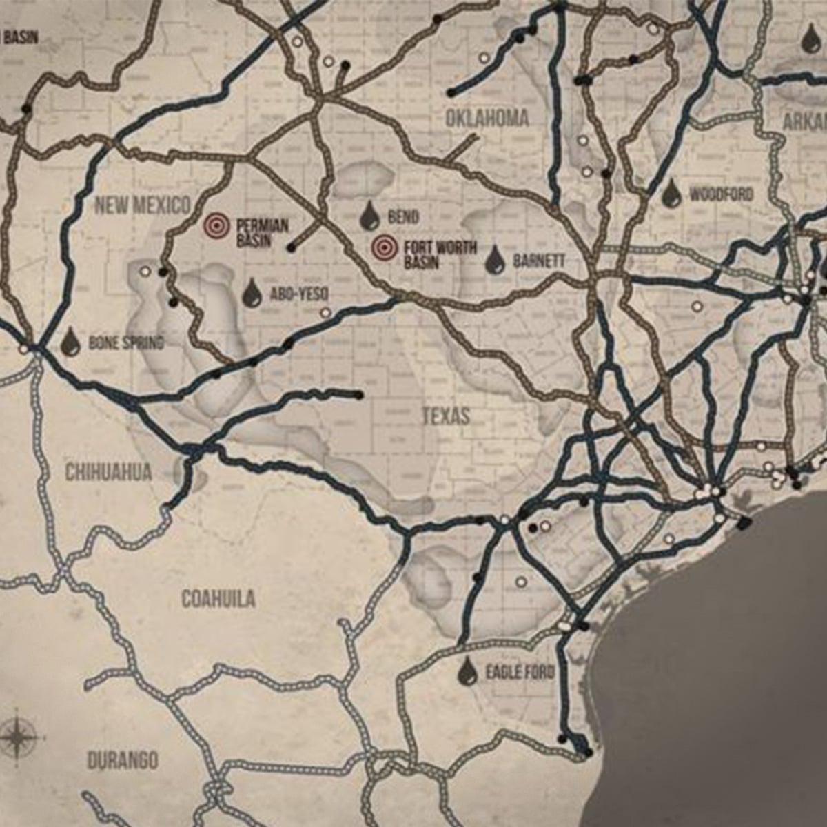 Texas Railroad Map & Oil Plays Map