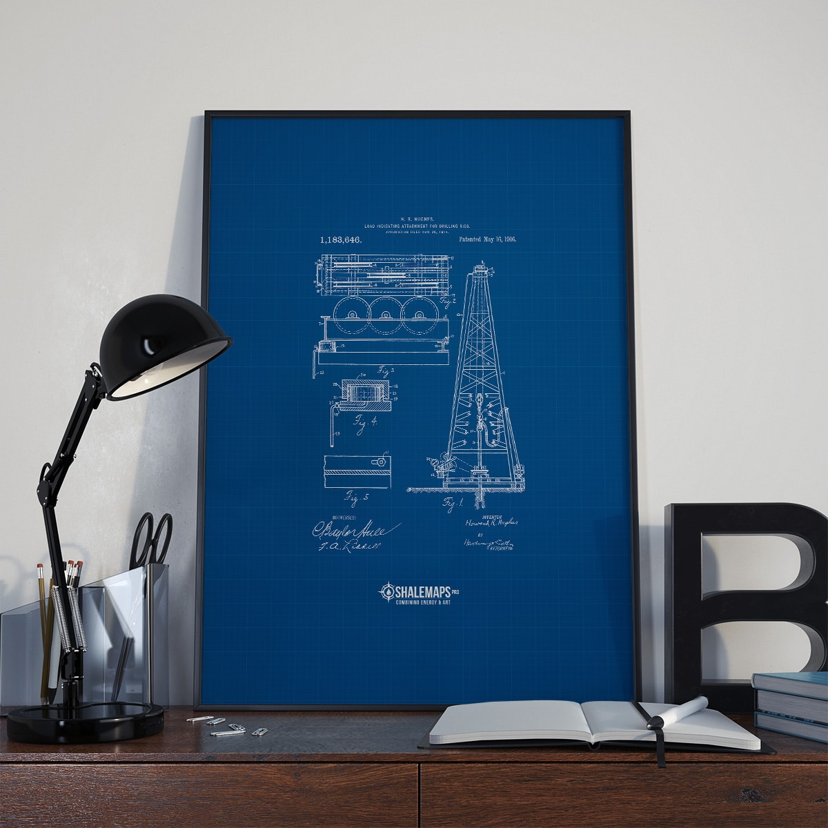 Vintage Drilling Rig Blue Print from 1916