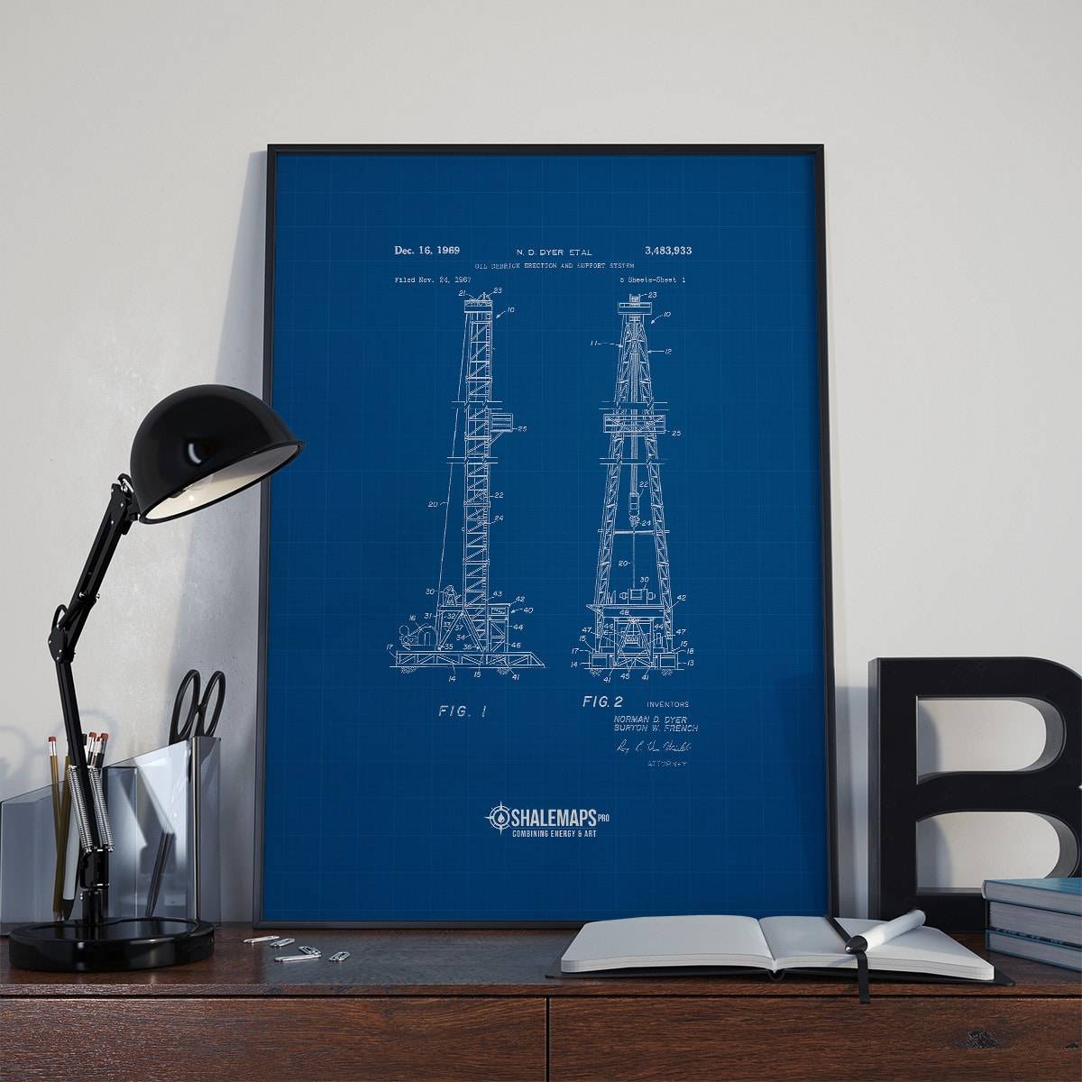 Vintage Oil Derrick Blue Print from 1967