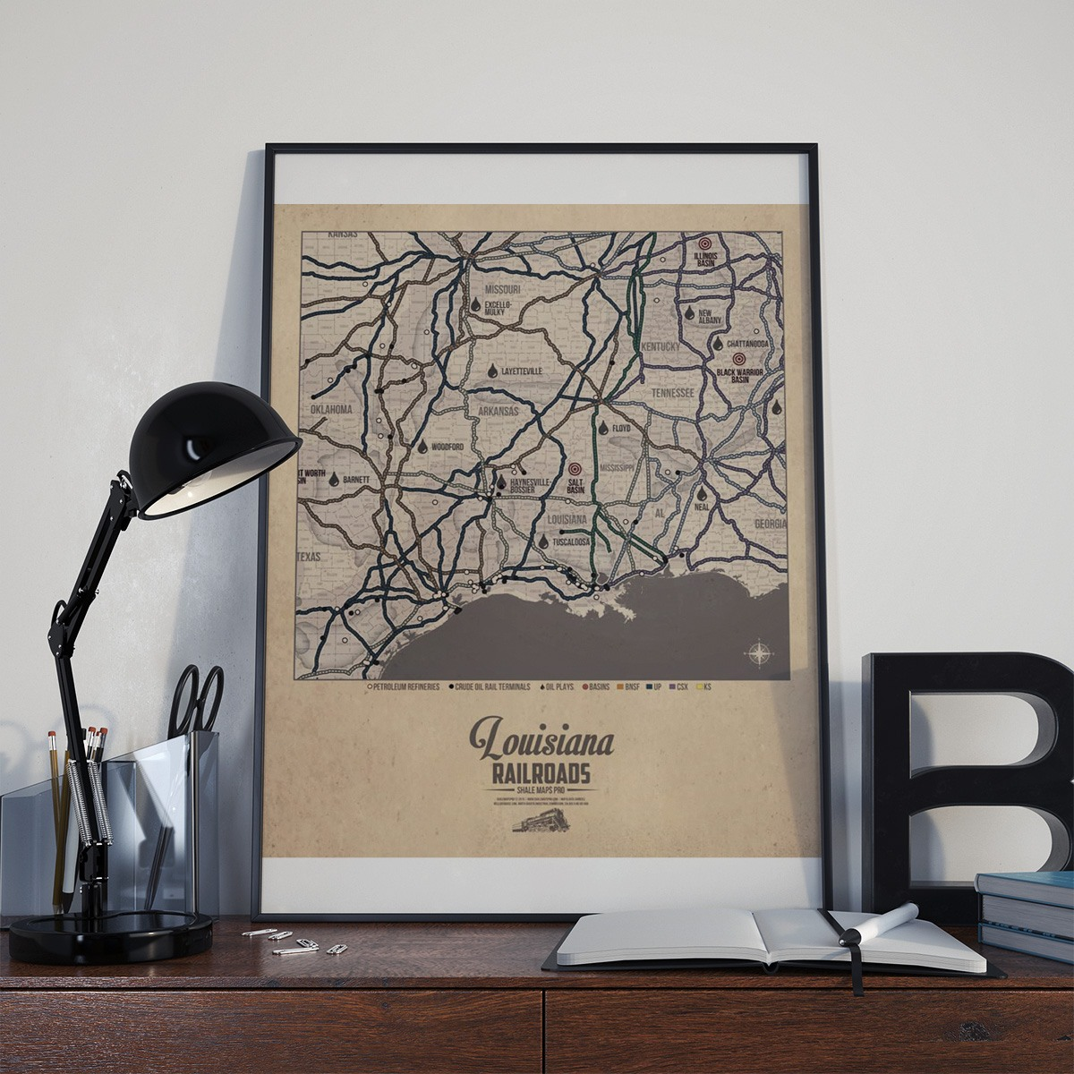 Louisiana Railroad Map & Oil Plays Map