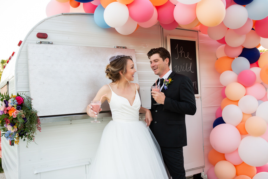 New Braunfels Texas bride and groom cheers