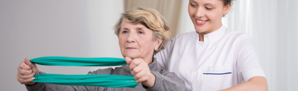 Elderly lady rehabilitation