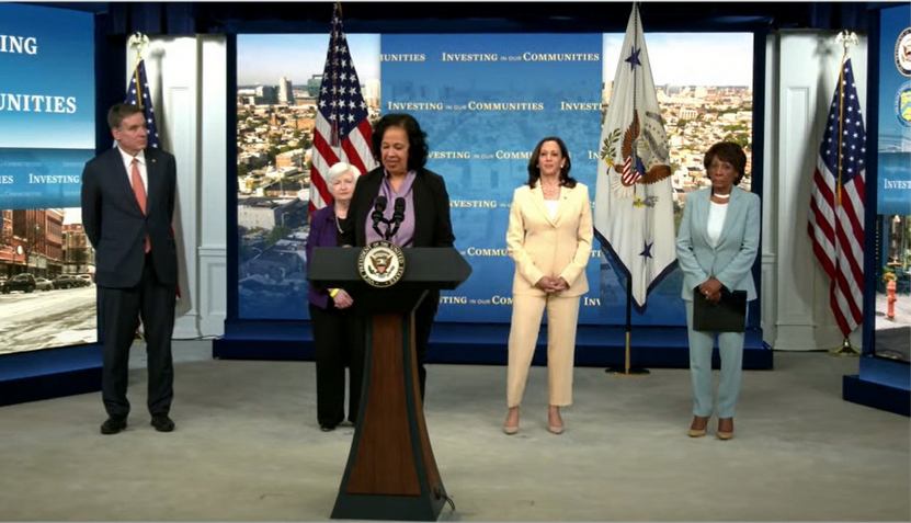 Lisa Mensah of OFN at White House Press Conference with Kamala Harris and Janet Yellen