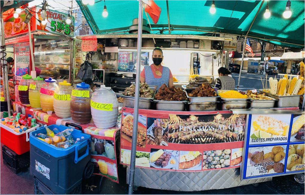 Rosa Calle, a street vendor from Ecuador located at 103 Street, Corona Plaza selling Ecuadorian food