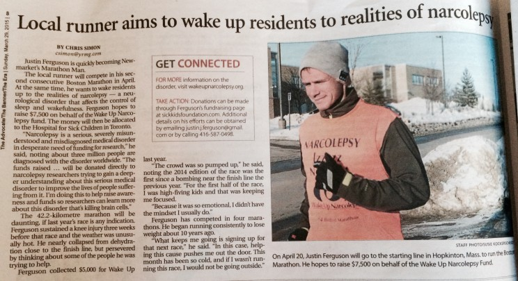 Article on Justin Ferguson running his second Boston Marathon for Wake Up Narcolepsy and Sick Kids Hospital