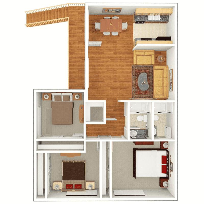 3 BED 2 BATH 1,020 Sq. Ft. floor plan