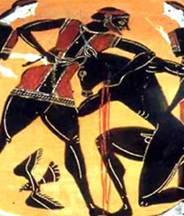 Ancient vase painting of violence