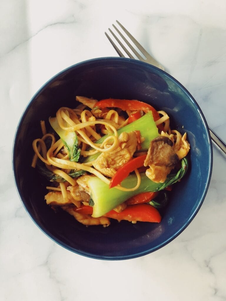 Spicy Noodles with Chicken and Bok Choy
